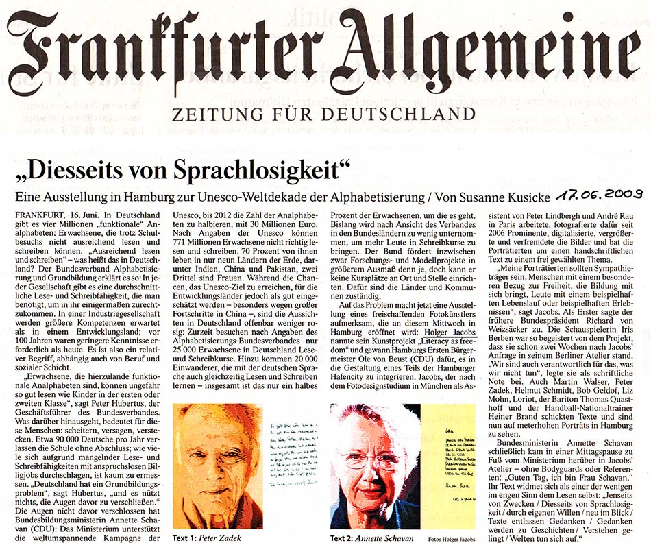 Frankfurter Allgemeine Zeitung, FAZ, Diesseits von Sprachlosigkeit, Holger Jacobs