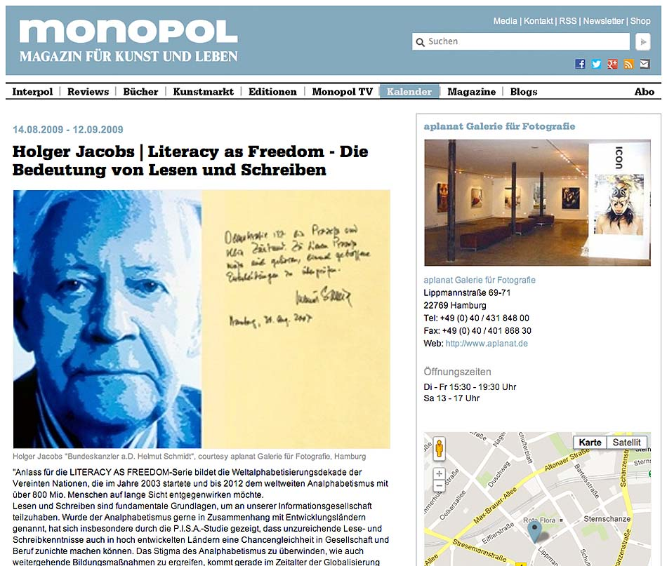 MONOPOL, Literacy as Freedom, Holger Jacobs
